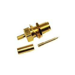 Wincomm - CON-CX100-RSMAF-B - Reverse polarity SMA-Female (male pin) Bulkhead connector for LMR(R)-100/RG174 1/8 coaxial cable, SOI