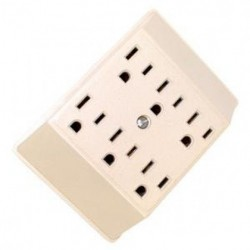 Cooper Wiring Devices - 1146V-SP - Cooper 1146V-SP 6-Outlet Ivory Grounding Outlet / Socket Adapter