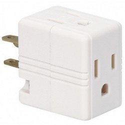 Cooper Wiring Devices - 1482W-BOX - Cooper Wiring Devices 1482W-BOX Three Outlet Cube Tap Adapter, White