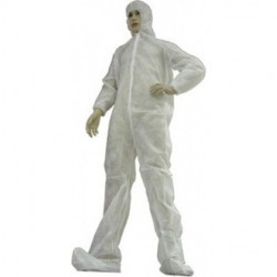 Tians - 200881-M - Coveralls with Hood -amp; Boot Medium Polypro White 25 Count