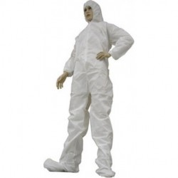 Tians - 206853-XL - Disposable White Microporous Film Coated Coveralls