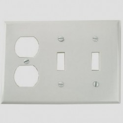 Cooper Wiring Devices - 2158W-BOX - Cooper Wiring 2158w-box Wallplate 3g 2tg Duplex Thermoset Standard Wh