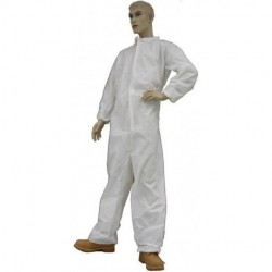 Tians - 216853-L - Coveralls with Collar Large M.P Film Coated White