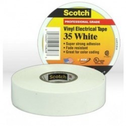 3M - 35WHITE3/4X66 - 3M 35WHITE3-4X66 Vinyl Electrical Color Coding Tape 3-4 in x 66 ft W