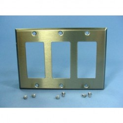 Cooper Wiring Devices - 93403-BOX - Cooper 93403-BOX 3-Gang Stainless Steel Decorator Wall plate Cover