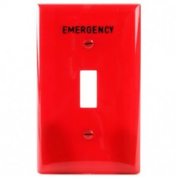 Cooper Wiring Devices - EM5134RD - Cooper Wiring Em5134rd-box Wallplate 1g Toggle Nylon Standard Red