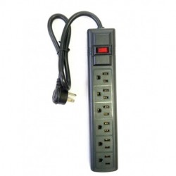 AVB Cable - LTS-6CXBB - AVBcable LTS-6CXBB 6 Outlet Power Strip with a right angle plug, Black