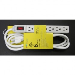 AVB Cable - LTS-6S-WH - AVB Cable LTS-6S-WH 6 Outlet Power Strip with Surge Suppression 6' Cord