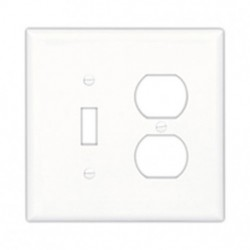 Cooper Wiring Devices - PJ18BK - Cooper Wiring Devices PJ18BK Wallplate 2G Toggle/Duplex Poly Mid BK