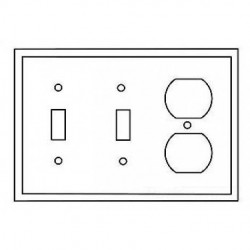 Cooper Wiring Devices - PJ28GY - Cooper Wiring Devices PJ28GY Wallplate 3G 2Toggle 1Duplex Poly Mid GY