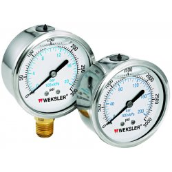 "Weksler - BY12YPP4LW - Weksler BY2.5 2.5"" Filled Pressure Gauge, 0 to 1000 psi, Lower Mount"