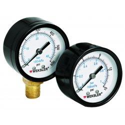 """Weksler - UA25N4L - Weksler UA2.5 2.5"""" Utility Pressure Gauge, 0 to 15 psi, Lower Mount"""