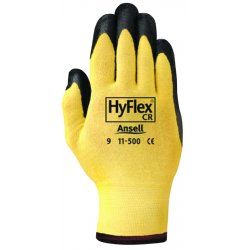 Ansell-Edmont - 115009 - Ansell HyFlex Nitrile Gloves - 9 Size Number - Nitrile - Yellow - Abrasion Resistant, Knit Wrist, Latex-free - 2 / Pair