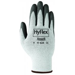 Ansell-Edmont - 11-624-9 - HyFlex Dyneema Gloves - Large Size - Spandex, Nylon, Polyurethane - Black, White - Lightweight, Abrasion Resistant - For Healthcare Working - 1 / Pack