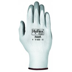 Ansell-Edmont - 11-800-9 - HyFlex Foam Gloves - Large Size - Nitrile, Nylon - Gray, White - Abrasion Resistant - For Healthcare Working - 2 / Pair