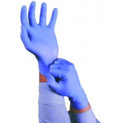 Ansell-Edmont - 92-675-L - Ansell Health Disposable Nitrile Gloves - Large Size - Nitrile - Blue - Durable, Chemical Resistant, Disposable, Comfortable, Textured Fingertip, Beaded Cuff, Rolled Cuff, Textured Finish, Powder-free, Textured - For Food