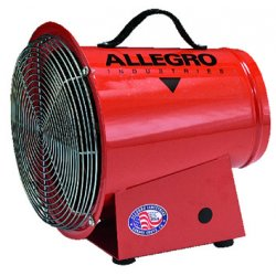 Allegro - 9506 - Allegro 14' X 13 5/8' X 15' 1150 cfm 1/4 hp 12 VDC 22 A Motor Cold Rolled Steel Axial Blower With 15' Cord And Alligator Clips, ( Each )