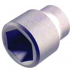 "Ampco Safety Tools - SS-1/2D7/16 - 7/16"" Aluminum Bronze Socket with 1/2"" Drive Size and Natural Finish"