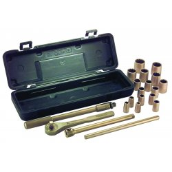 "Ampco Safety Tools - W-260 - 1/2""Drive SAE Beryllium Copper Alloy Nonsparking Socket Wrench Set, Number of Pieces: 21"