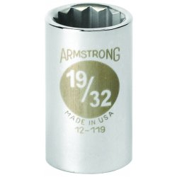 Armstrong Tools - 12-114 - 7/16 Steel Socket with 1/2 Drive Size and Chrome Finish