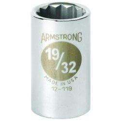"""Armstrong Tools - 12-119 - 1/2"""" Dr Socket- 19/32"""" Opg 12-pt Std-"""