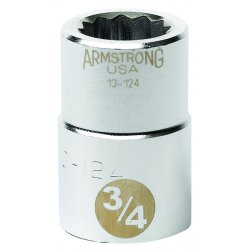 """Armstrong Tools - 13-148 - 3/4"""" Dr Socket- 1-1/2"""" Opg 12-pt Std-"""