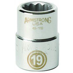 "Armstrong Tools - 40-122 - 3/4"" Dr Socket- 22mm Opg12-pt Std-"
