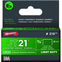 "Arrow Fastener - 215 - 5/16"" Staples F/staple Gun Tacker 1000/pk"