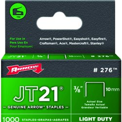 "Arrow Fastener - 224 - 02738 Jt21/t27 3/8"" Staple 1-000/pk"