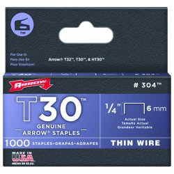 "Arrow Fastener - 304 - 1/4"" Staples F/staple Gun Tacker 1000/pk"