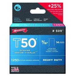 "Arrow Fastener - 509 - 50016 T50 9/16"" Staples1250/pk .050 Wire"