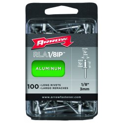 Arrow Fastener - RLA1/8IP - 1/8-Inch Aluminum Long Rivets - 100 Pack