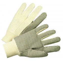 Anchor Brand - 101-1000 - PVC-Dotted Canvas Gloves, White, One Size Fits All, 12 Pairs