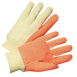 Anchor Brand - 101-1090 - 1000 Series PVC Dotted Canvas Gloves, Orange/Black, Large, 12 Pairs