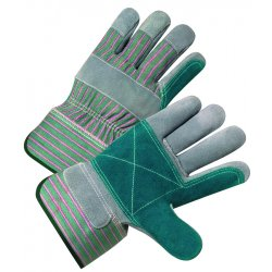 Anchor Brand - 101-2300 - 2000 Series Leather Palm Gloves, Gray/Green/Red, Large, 12 Pairs