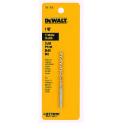 Dewalt - DW1308 - Drill Bits, Split Point, Titanium, 1/8 in.
