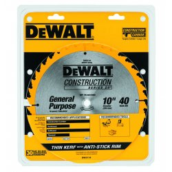 Dewalt - DW3114 - DeWALT DW3114 Series 20 Construction 10'' 40T Thin Kerf Table Saw Blade
