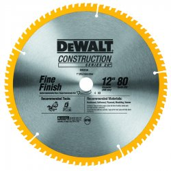 Dewalt - DW3128 - Series 20 12-Inch 80-Tooth ATB Thin Kerf Crosscutting Miter Saw Blade w/ 1 Arbor