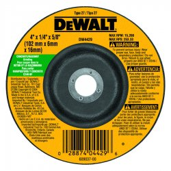 "Dewalt - DW4429 - 4"" x 1/4"" Depressed Center Wheel, Silicon Carbide, 5/8"" Arbor Size, Type 27, High Performance"