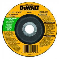 "Dewalt - DW4524 - 4-1/2"" x 1/4"" Depressed Center Wheel, Silicon Carbide, 7/8"" Arbor Size, Type 27"