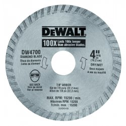 "Dewalt - DW4700 - Dewalt Replacement Blade - x 80 mil Thickness x 4"" Diameter - Diamond Coated - Cobalt"
