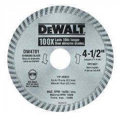 "Dewalt - DW4701 - Dewalt Replacement Blade - x 80 mil Thickness x 4.50"" Diameter - Diamond Coated, Heat Treated - Steel, Cobalt"