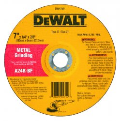 "Dewalt - DW4719 - 7"" x 1/4"" Depressed Center Wheel, Aluminum Oxide, 7/8"" Arbor Size, Type 27, High Performance A24R"