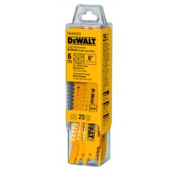 "Dewalt - DW4802B25 - 6"" 6tpi Taper Back Bi-metal Reciprocating Blade"