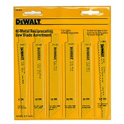 "Dewalt - DW4856 - Dewalt 6 Piece Bi-Metal Reciprocating Saw Blade Set - 6"" Length - Durable, Non-stick - 6 / Pack - Yellow"