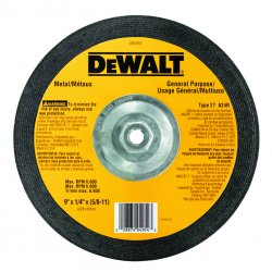 "Dewalt - DW4954 - 9"" x 1/4"" Depressed Center Wheel, Aluminum Oxide, 5/8""-11 Arbor Size, Type 27, High Performance"