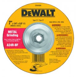 "Dewalt - DW4999 - 7"" x 1/4"" Depressed Center Wheel, Aluminum Oxide, 5/8""-11 Arbor Size, Type 27, High Performance"