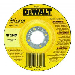 "Dewalt - DW8434 - Dewalt Type 27 Wheels: High Performance Pipeline Grinding - x 0.13"" Thickness x 4.50"" Diameter - Aluminum Oxide - 25 / Box"