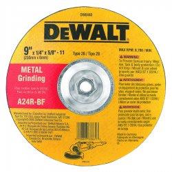 Dewalt - DW8448 - 9 Type 28 Aluminum Oxide Depressed Center Wheels, 5/8-11 Arbor, 1/4-Thick, 6600 Max. RPM
