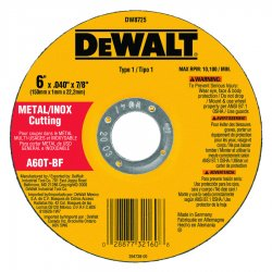 Dewalt - DW8725 - 6 Type 1 Aluminum Oxide Abrasive Cut-Off Wheel, 7/8 Arbor, 0.040-Thick, 10, 100 Max. RPM